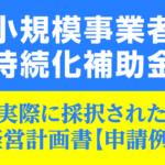 【申請例】小規模事業者持続化補助金 採択された経営計画書